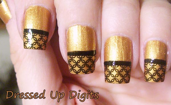 lace tips gold party nails