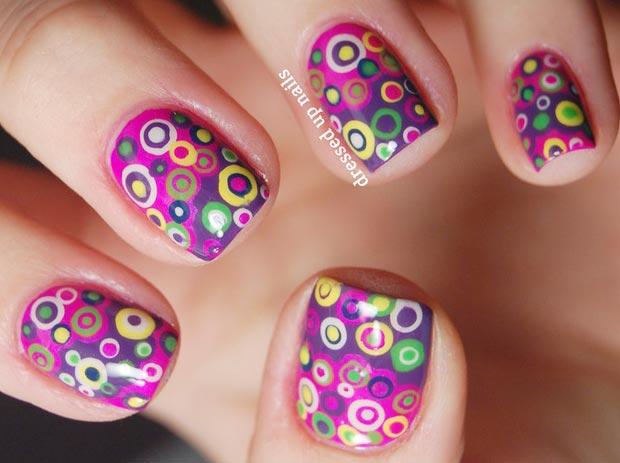 layered colorful dots pink purple nails
