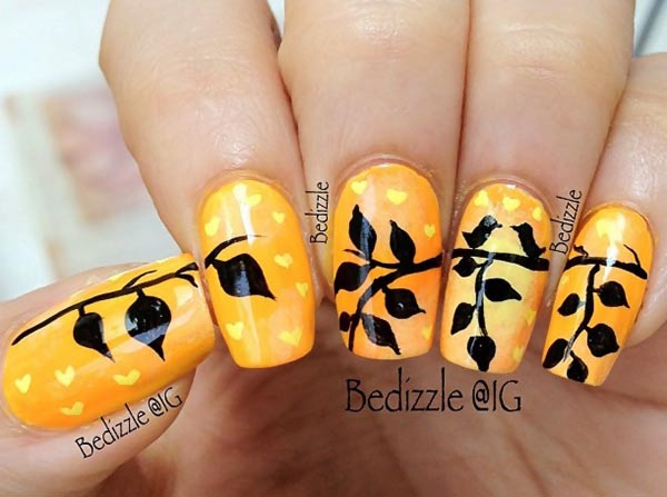leaves birds orange fall nails