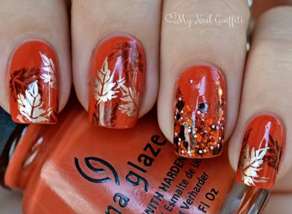 leaves on orange nails