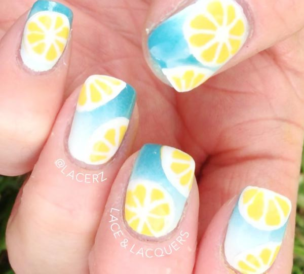 lemon slices blue gradient summer nails - Favnails