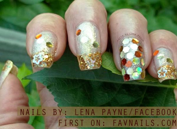 gold glitter sequined french nails