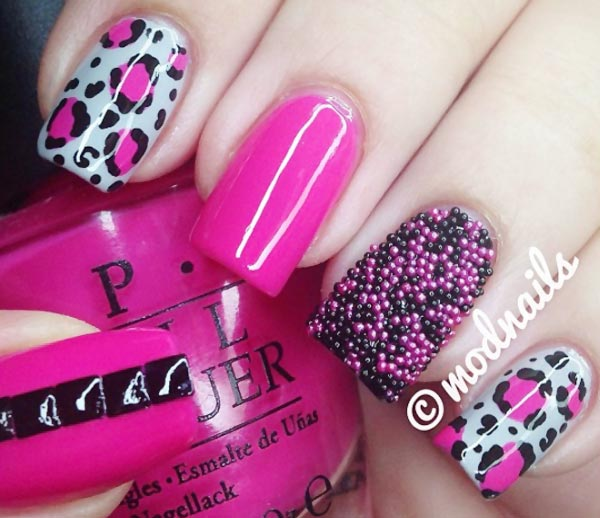 leopard caviar bright pink nails