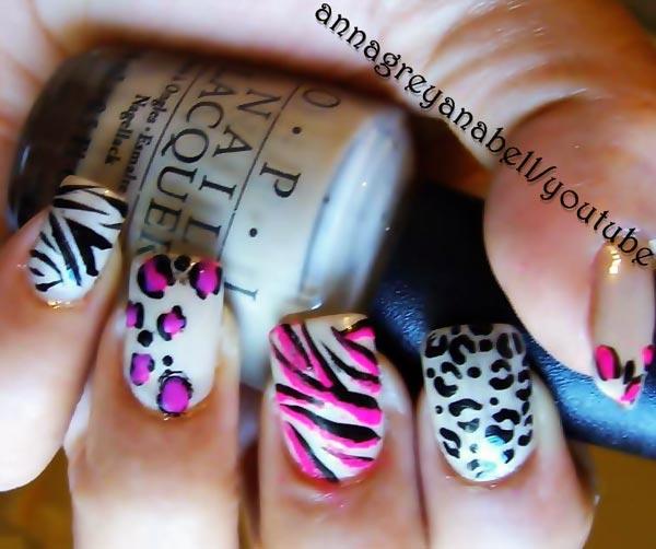 leopard cheetah zebra tiger mix nails