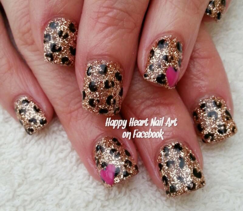 leopard gold glitter heart accent nails