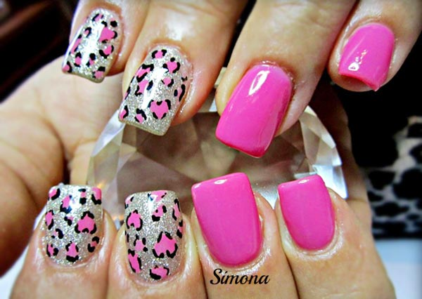 leopard hearts silver pink nails