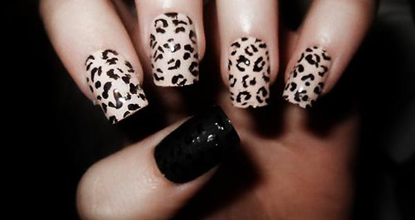 leopard nails black matte leopard nail