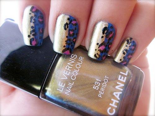 leopard print Chanel golden nails