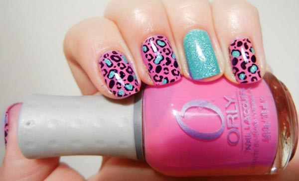 leopard print turquoise shimmer pink nails
