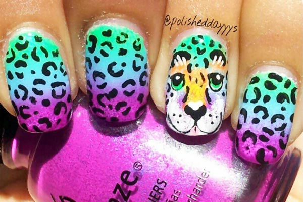leopard purple blue green gradient nails