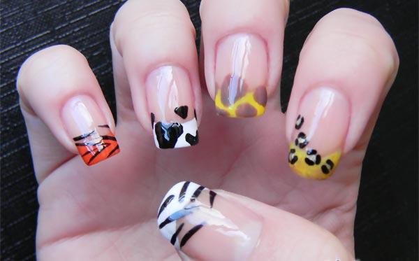 leopard zebra tiger french freehand nails