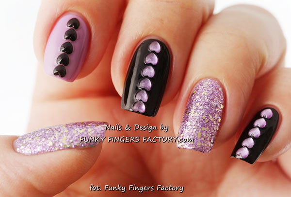lilac glitter black hearts accents nails