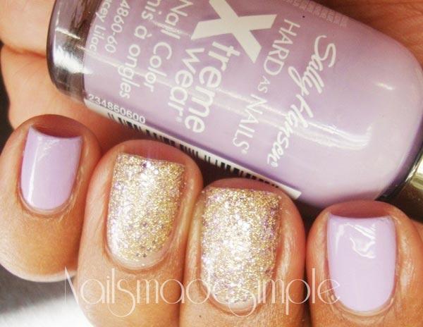 lilac gold shimmer nails