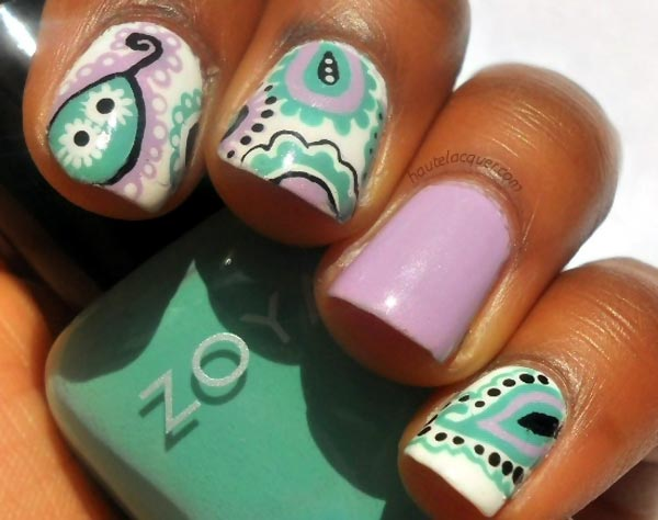 lilac green black white paisley nails