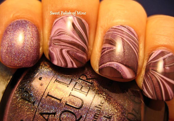 lilac water marble nails