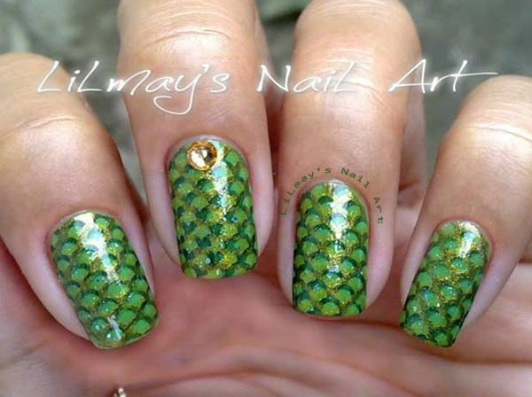 green scales mermaid nails