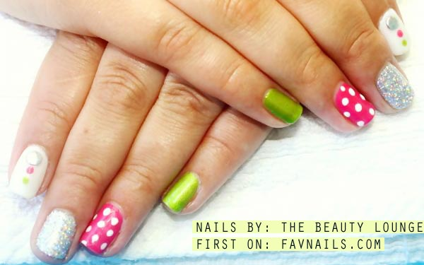 lime pink glitter white spring nails