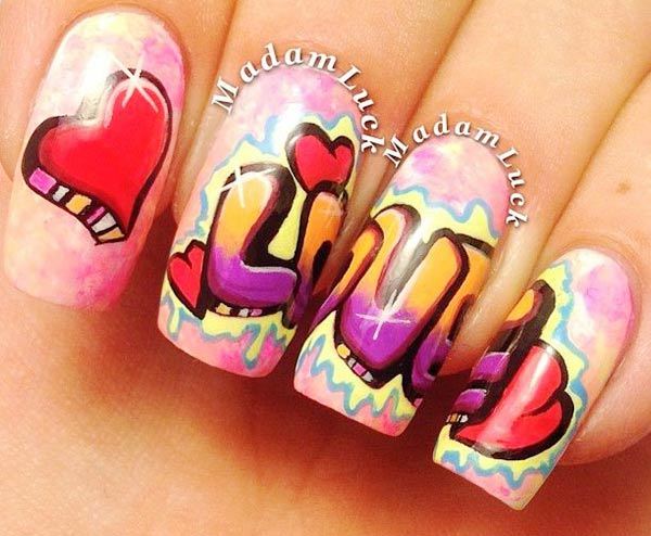 love graffiti pink artistic nails