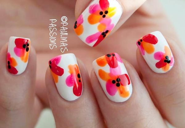 lovely flowers freehand summer nails