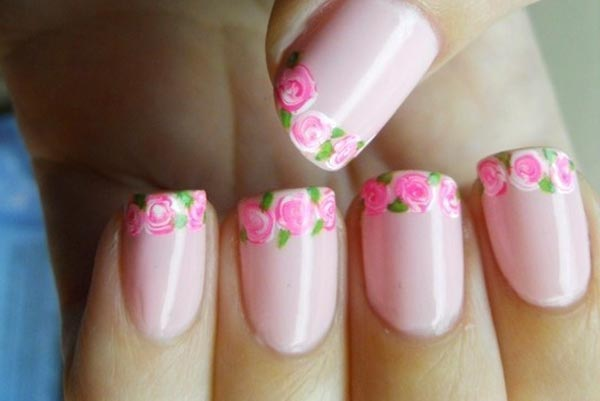 lovely roses french spring pink nails
