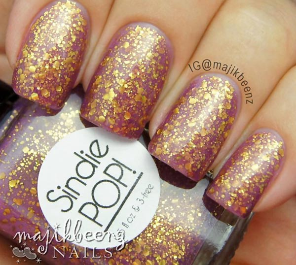 majikbeenz gold glitter on lilac fall nails