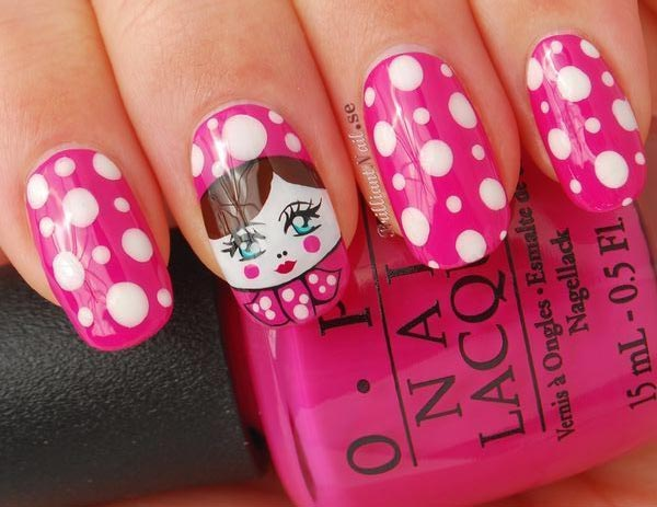 matryoshka pink dotted nails
