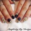 matte black french rhinestones jewelry nails