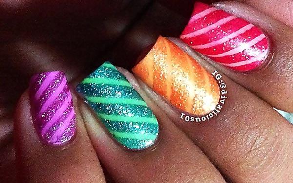 matte glitter stripes rainbow nails