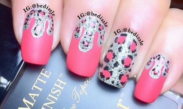 matte pink leopard silver nails