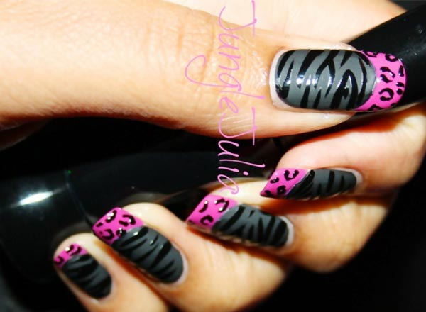 matte black zebra pink leopard french nails