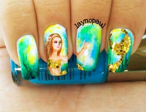 mermaid sequins artistic nails