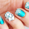 metallic blue silver glitter bling bow girly nails