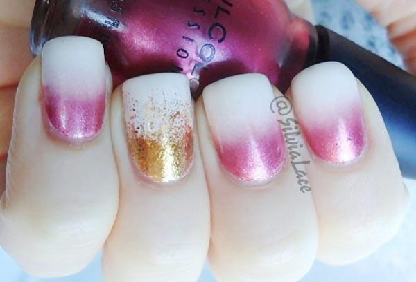 metallic pink gold white gradient nails