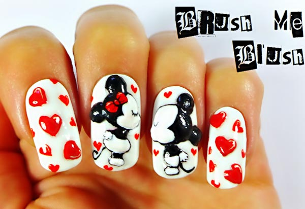 mickey mouse minnie hearts cute nails