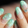 mint green flowers french glitter spring nails