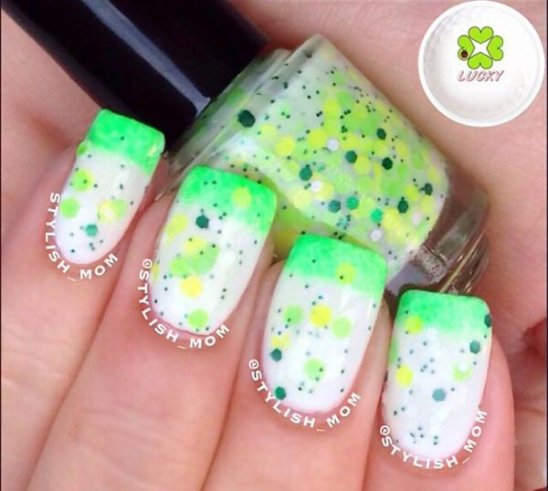 mint lime glitter jelly french gradient nails