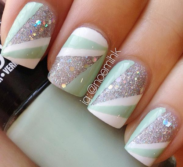 mint white geometry silver glitter nails