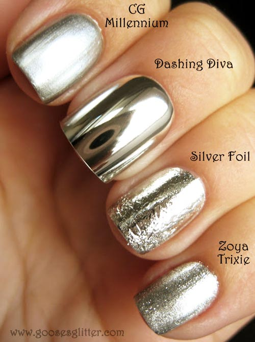 mirror silver nails