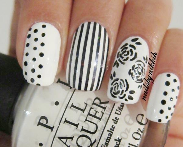 mix art black and white nails
