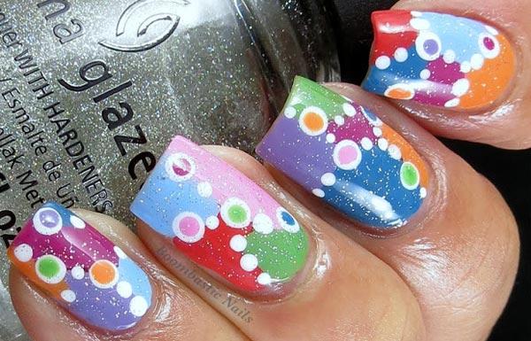 mixed colors dots summer nails