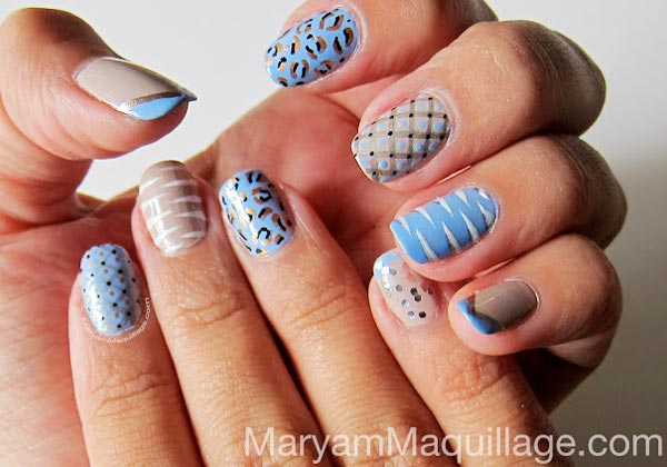 mixed patterns zebra leopard blue nails