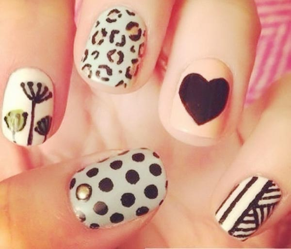 mixed patterns girly accent nails