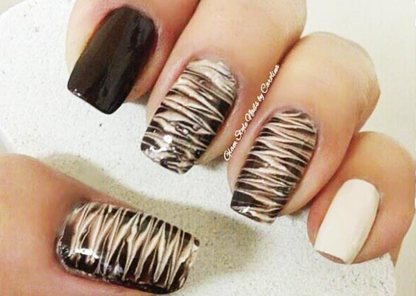 mocha butter needle marbled nails