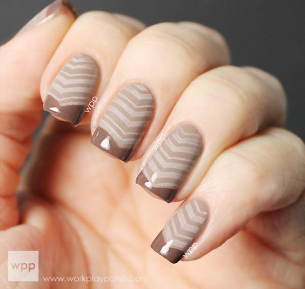 mocha coffee french nails