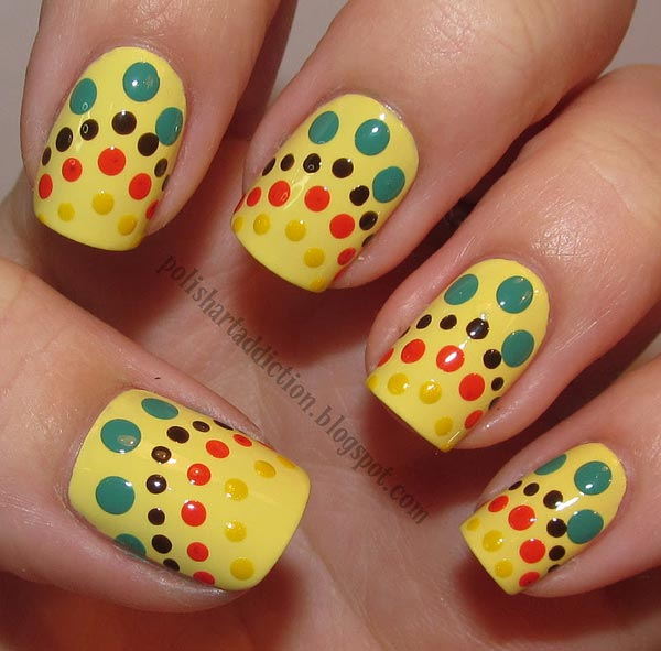 multicolored dots yellow nails