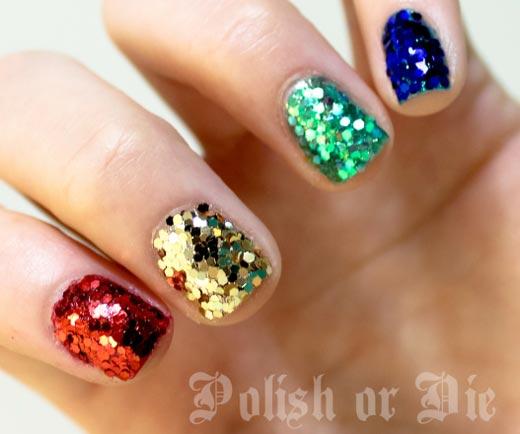 multicolored glitter party nails