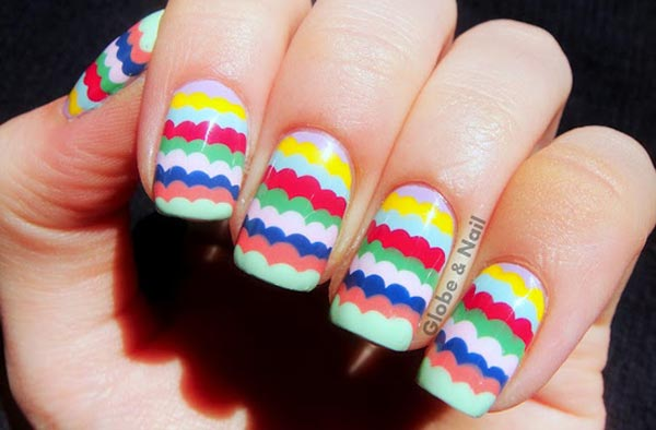 multicolored ruffled easter spring nails