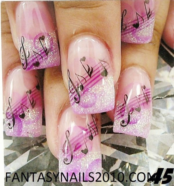 music notes pink glitter french nails