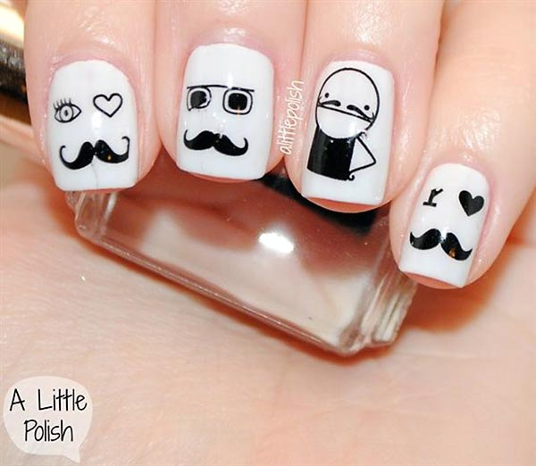 mustache dandy hipster black and white nails