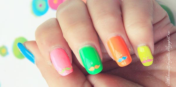 mustache neon rainbow summer nails